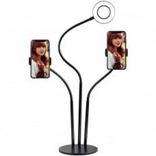 Набор для съемки LED-лампа на стойке с двойным зажимом для телефона (Чёрный)